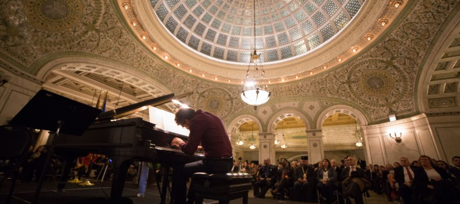 Pianist Teo Milea performs in Chicago for the National Day of Romania Celebration